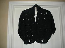 Chico's TAMMY CROCHETED SHRUG Size 3 = 16 18 XL Navy Blue Ink Sweater NEW $119
