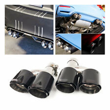 Car Carbon Fiber Steel Exhaust Pipe Muffler Tip Tail H -Pipe Dual (Left + Right)
