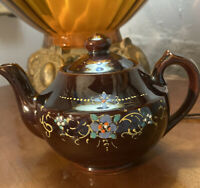 """Vintage Brown Betty Redware Teapot Hand Painted- Made In Japan- 5.5"""" with Lid"""