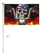 5' Wood Flag Pole Kit Wall Mount Bracket 3x5 Flag Joint Pirate Biker Usa Flag