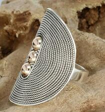 Handmade Sterling Silver .925 Bali Long Oval Statement Ring w 18k Gold Accents.