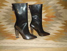 "Cape Robbin - Size 7.5 - Clear Plastic - Gray/Brown - Calf Boots w 4"" Heel"