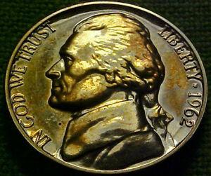 1962 Jefferson GEM PROOF 5 Cents 5c ~ WOW!! A BEAUTlFUL TONED NICKEL~  21VN