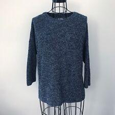 Sonoma Women's Shaker Crew Neck Navy Blue & White Heathered Sweater Size Medium