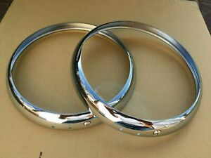 2 X Chrome Headlamp Rims Fit For Land Rover Series 1,2,3