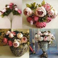9 Heads Silk Rose Artificial Flowers Fake Bouquet Buch Wedding Home Party Decor