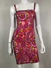 DOLCE & GABBANA S/S 2004 Paisley Floral Silk Pink Stretch Dress Sz IT 38 US 4