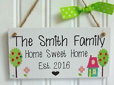 Personalised Family Home Sweet Home Plaque - House warming Gift New Home Sign