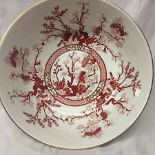 "COALPORT INDIAN TREE CORAL SALAD SERVING BOWL 10 1/4"" RUST FLOWERS GOLD TRIM"