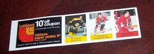Loblaws / Save Easy NHL action players 1974-75 3 unused stamps Phil Esposito +2