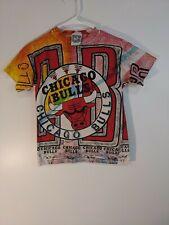 VTG 90s Magic Johnson t's CHICAGO BULLS All Over Print tshirt Youth sz M