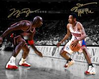 Michael Jordan Allen Iverson signed photo  w auto reprint 8x10 photo Iconic mj