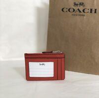 NWT Coach F12186 Mini ID Skinny Key Chain Case Crossgrain Leather Orange Red $65