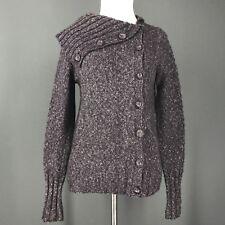 BCBG Sweater S Purple Marled Asymmetrical Wool Blend Shawl Collar MAXAZRIA