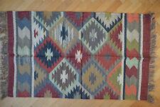 Kilim Rug Hand Made 90x150cm Natural Jute Wool Indian Beige Maroon Diamond 3516