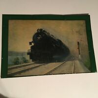 Vintage Tin Lithograph Calendar Top With Train Engine 6615
