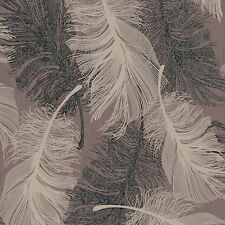 New Coloroll Feather - Chocolate & Cream - Silver Glitter - Wallpaper - M0962