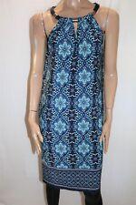 Jacqui E Brand Blue Floral Print Sleeveless Shift Dress Size S BNWT #TK67
