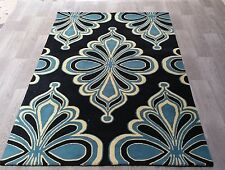 INDIAN HAND TUFTED,MODERN FLORAL 100% WOOL RUG, 2.44 x 1.52M,BLACK,BLUE & IVORY