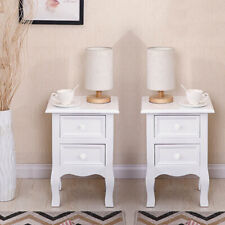 1 Pair White Bedside Tables Unit Nightstand Cabinet with Drawers Bedroom Storage