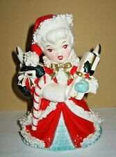 Vintag1958 Napco Christmas Angel Girl Planter Spaghetti Trim AX1699