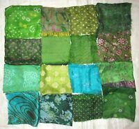 """LOT PURE SILK Antique Vintage Sari Fabrics REMNANT 16 pcs 8"""" SQUARES Green decor"""