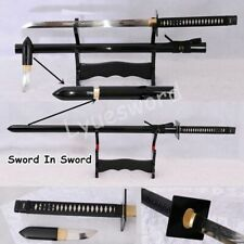 Sword in Sword Clay Tempered Blade Handmade Japanese Ninja Full Tang Razor Sharp