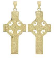 """14k Yellow Gold REVERSIBLE Celtic Cross Pendant Religious Charm 1.7"""" 6.8g"""