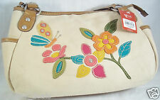 RELIC Fabric Covered Purse with Pretty Flower Embellishment NWTNeutral Beige
