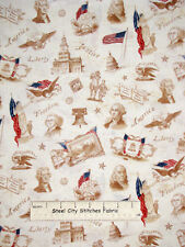 Patriots President Liberty Eagle US Flag Sepia Robert Kaufman Cotton Fabric YARD