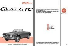 Alfa Romeo 1965 - 1965 Giulia GTC Supplement to Giulia Sprint GT Instruction Boo