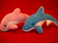 Lot of - 12 - Plush/Stuffed Dolphins, Pink/Blue