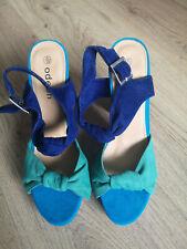 ODEON Blue/Green Block Ankle Strap Heels Size UK5 EU38