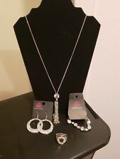 paparazzi Long Necklace, bracelet, earrings & Ring w/ White Stone Accent