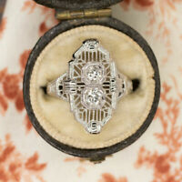 Contemporary Vintage Engagement Wedding Ring 14K White Gold Over 1.72 Ct Diamond