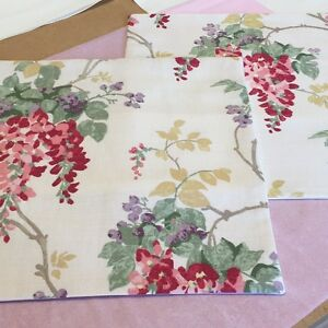 TWO  HANDMADE CUSHION COVERS IN LAURA ASHLEY WISTERIA CRANBERRY