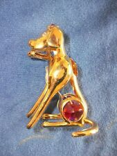 Crystal Temptations Dog 24K gold plated w/Colored Swarovski Crystal Stones &Bone
