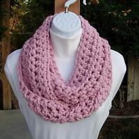 Solid Light Pink INFINITY SCARF Loop Cowl Wool Blend Handmade Crochet Winter New