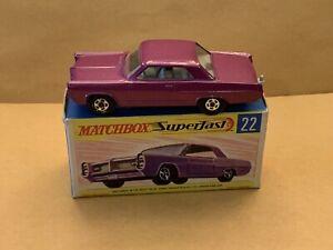 Rare Matchbox Superfast No. 22 Pontiac Coupe Purple Body With Box