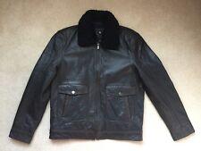 Bod & Christensen Men's M Brown Sheepskin Leather Jacket w Shearling Collar NEW!