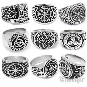 Edelstahl Wikinger Ring nordisch germanisch keltisch Schutz-Runen Mjölnir Biker