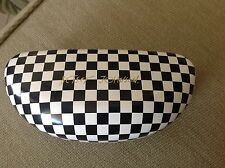 BETSEY JOHNSON GLASSES CASE BLACK WHITE CHECK CLAMSHELL 6 1/4 x 2 1/2 x 1 1/2NEW