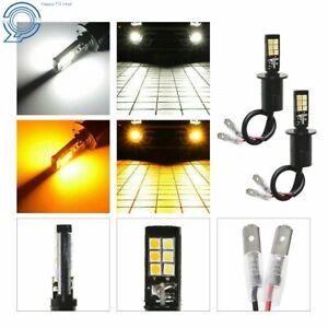 LED Fog Light Bulb 2x H3 Dual Color 6000K White 3000K Amber 160W Driving Light