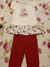 Girls Red Leggings And Top Age 7