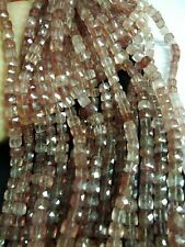 """SUPER TOP AAA STRABERRY QUARTZ CUBE BOX FACETED 7-7.5 MM ,8"""" BEADS STRANDS"""