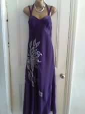 Pearce Fonda, size 10. Long purple evening, party dress. Embroidery, beads. New