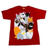 Enjoi Men's Skate Shirt Crazy Cats Red Size Large