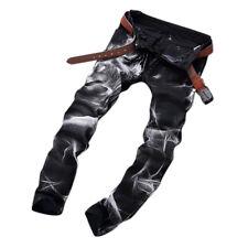 Mens Fashion Wolf Printing Black Straight Leg Denim Long Pants Jeans US Size 30-