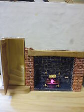 1/12 Dolls House  Fire place surround Log Fire with Spit Roast   Lights Up