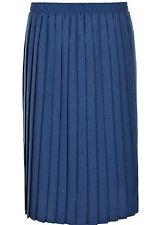 "Womens Quality Plain Extra  Pleated Stretch Elasticated Waist Long 27"" Skirt Uk"